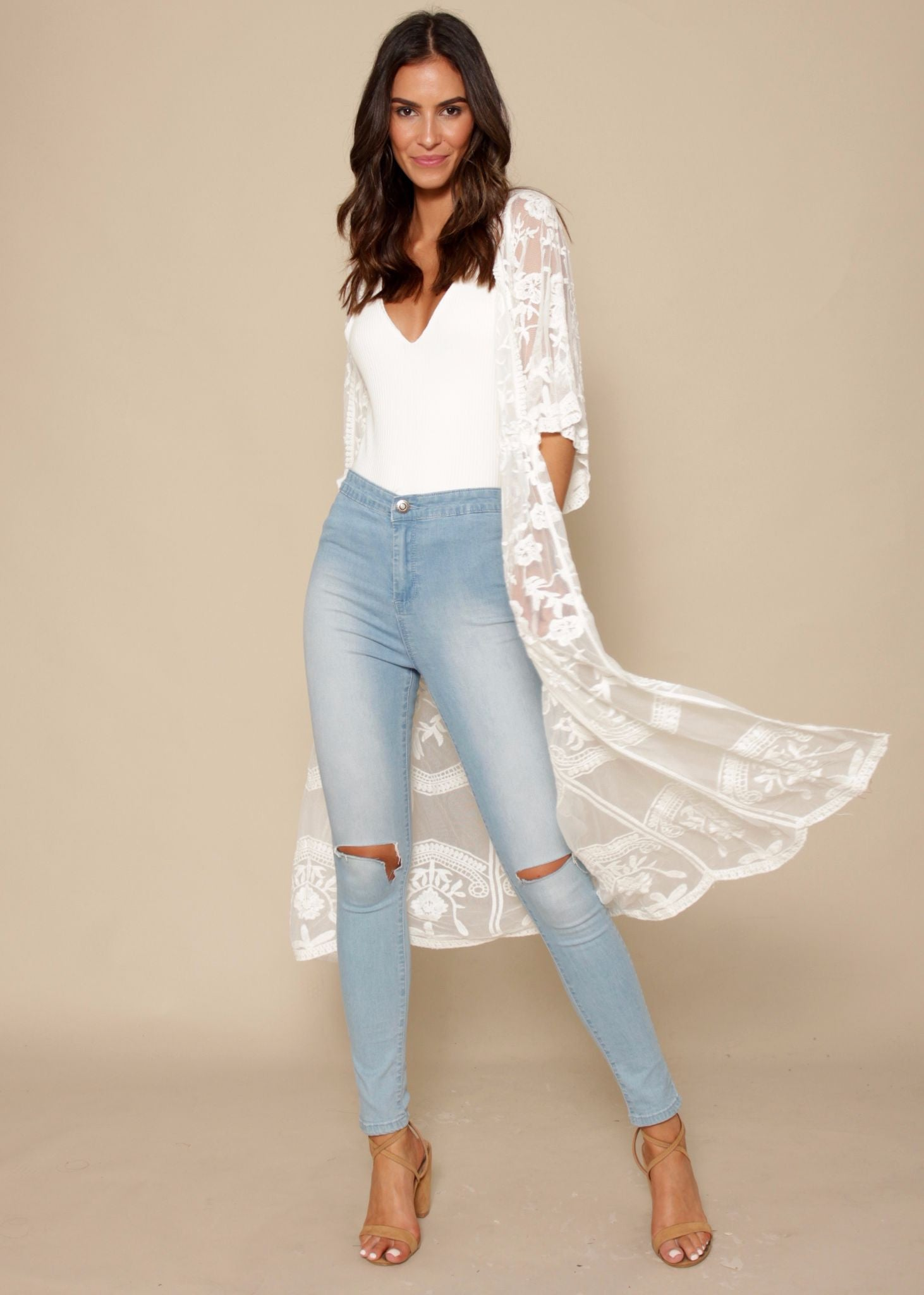 Rambling Rose Lace Cape - White