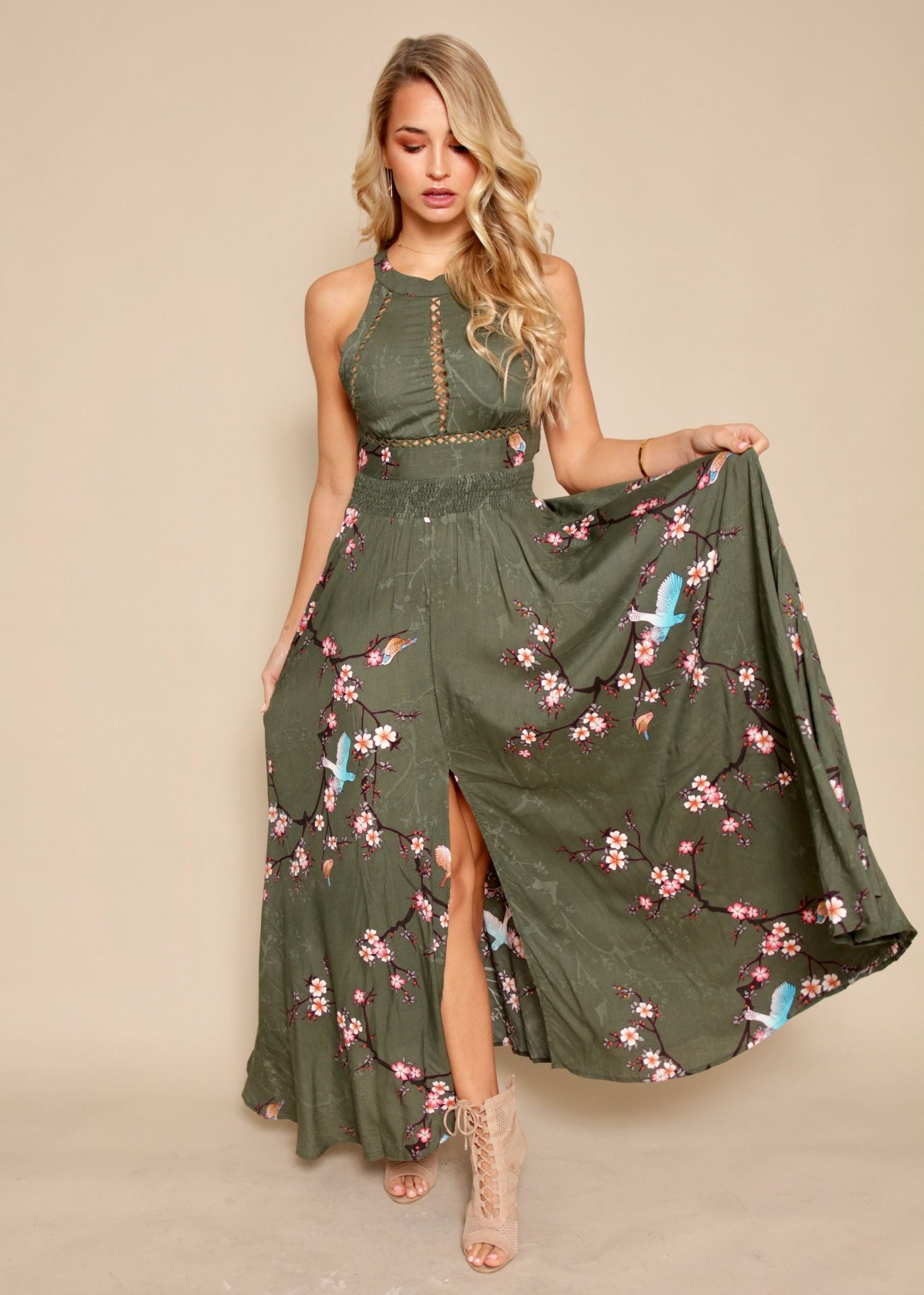 Break Of Dawn Maxi - Khaki Blossom