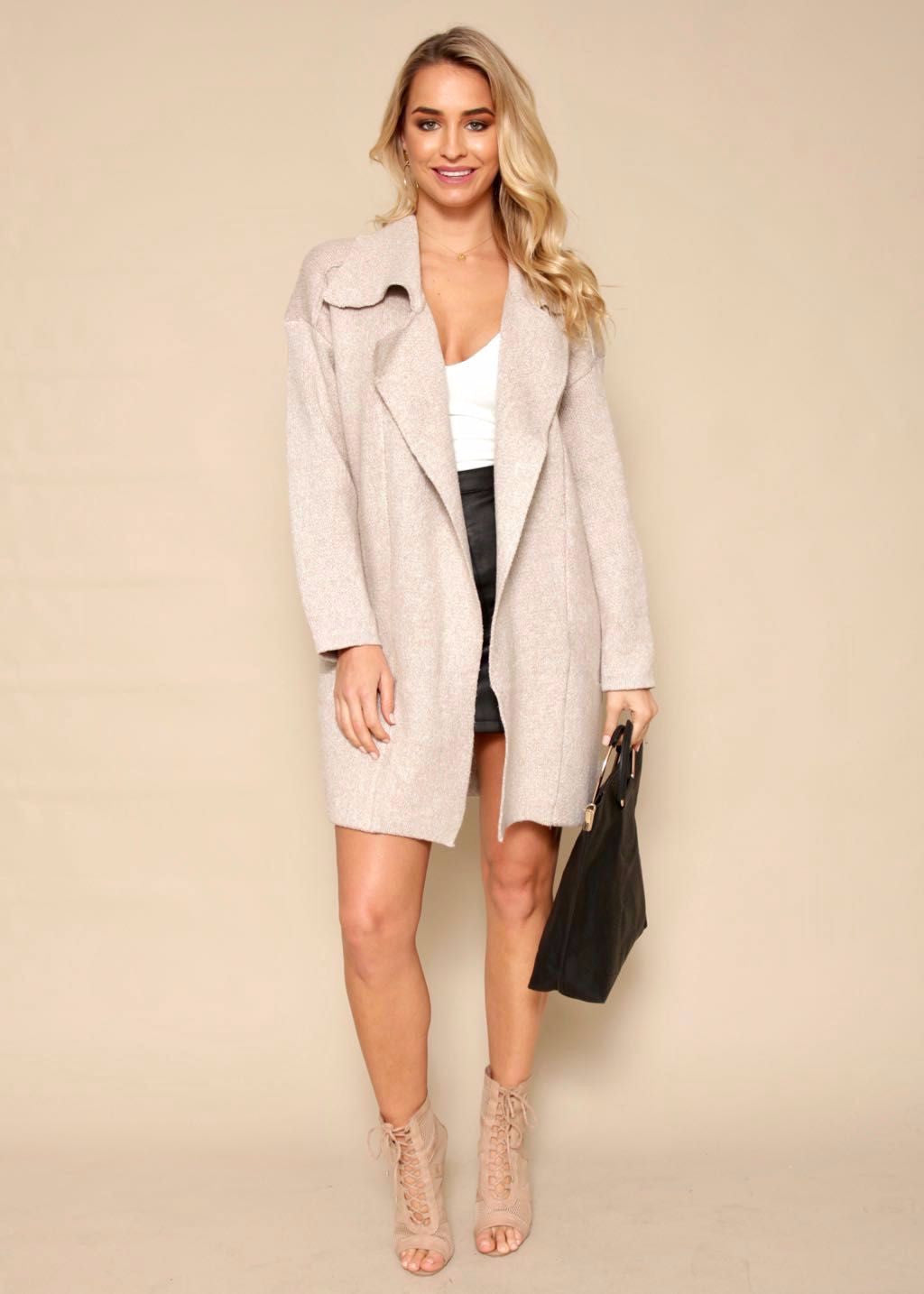 Heartline Oversized Wool Knit Coat - Beige