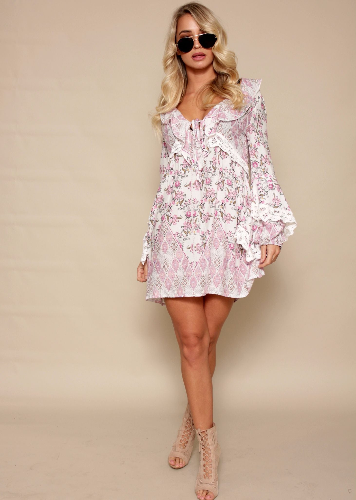 Macy Mini Dress - Blushing Rose