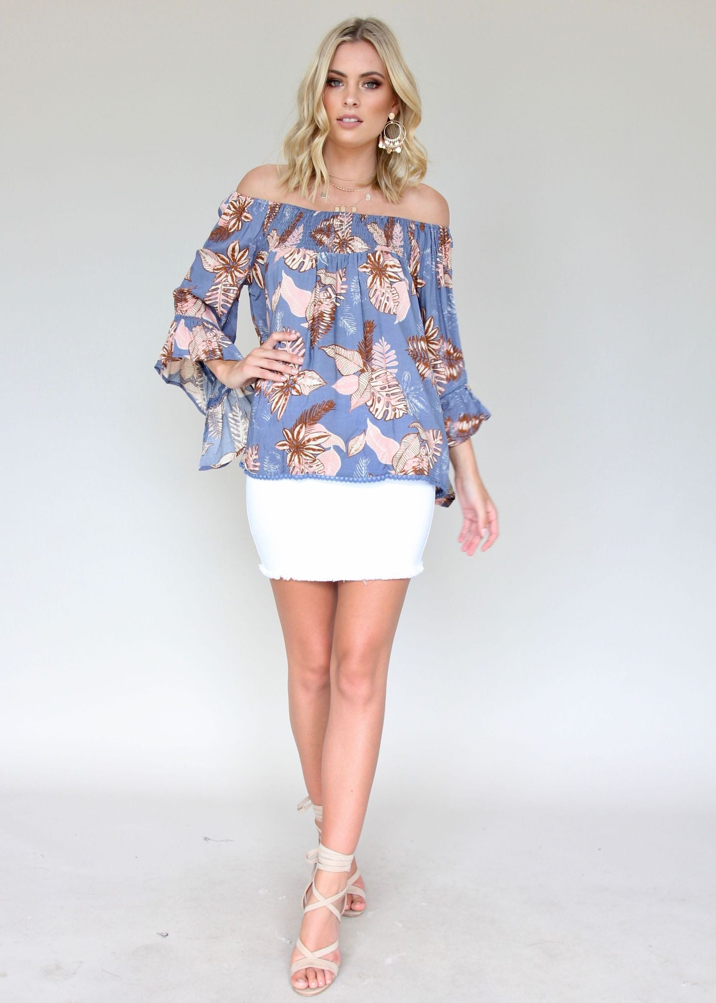 Sugar Night Off Shoulder Top - Bermuda
