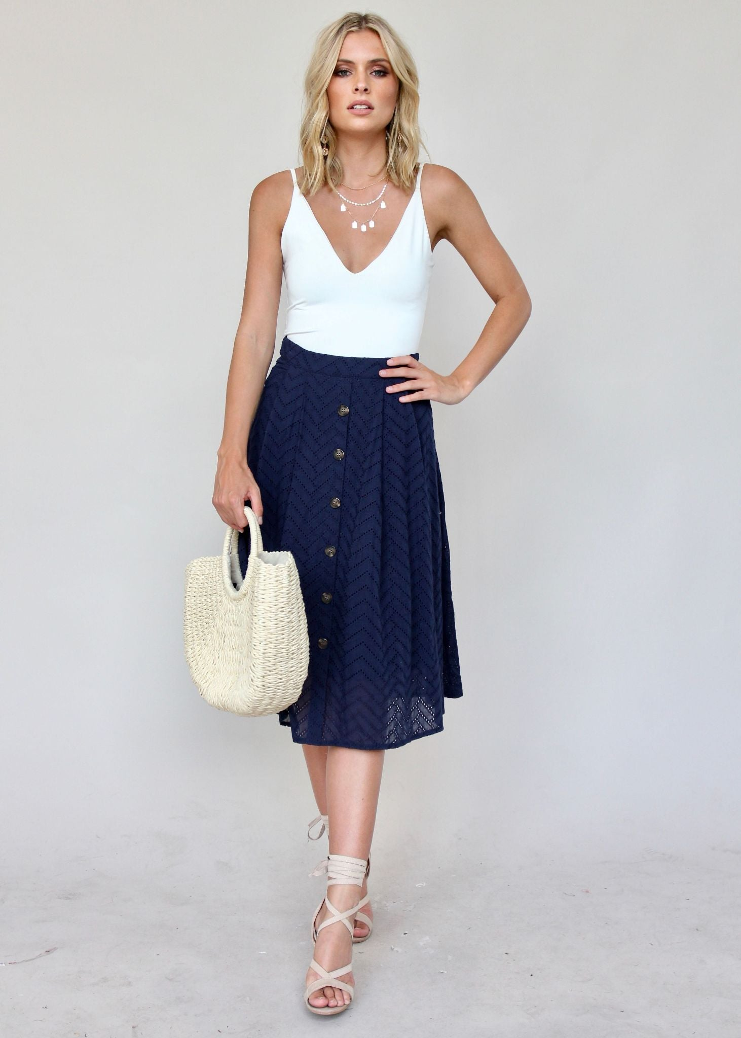 New Wave Midi Skirt - Navy