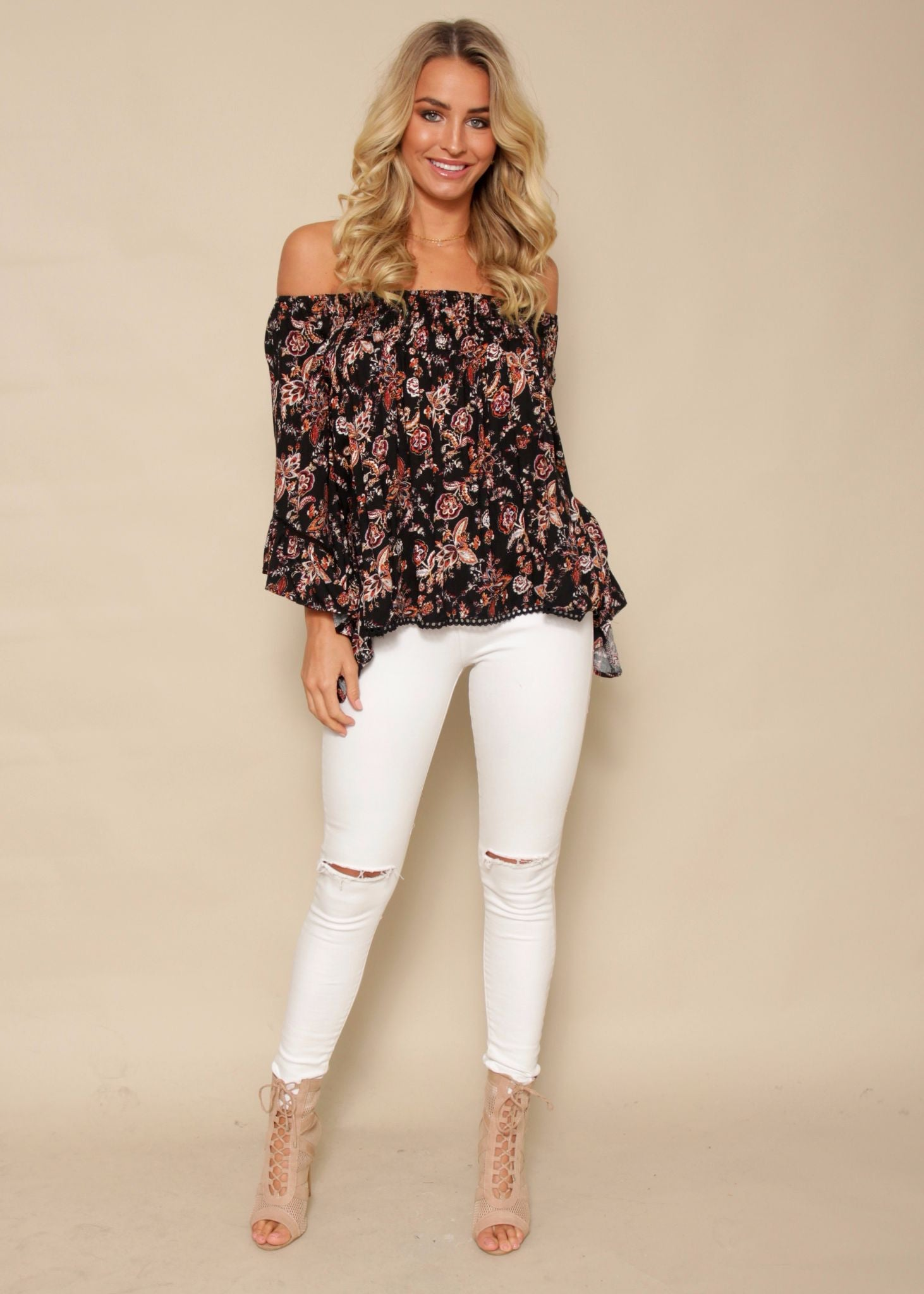 Sugar Night Off Shoulder Top - Black Henna