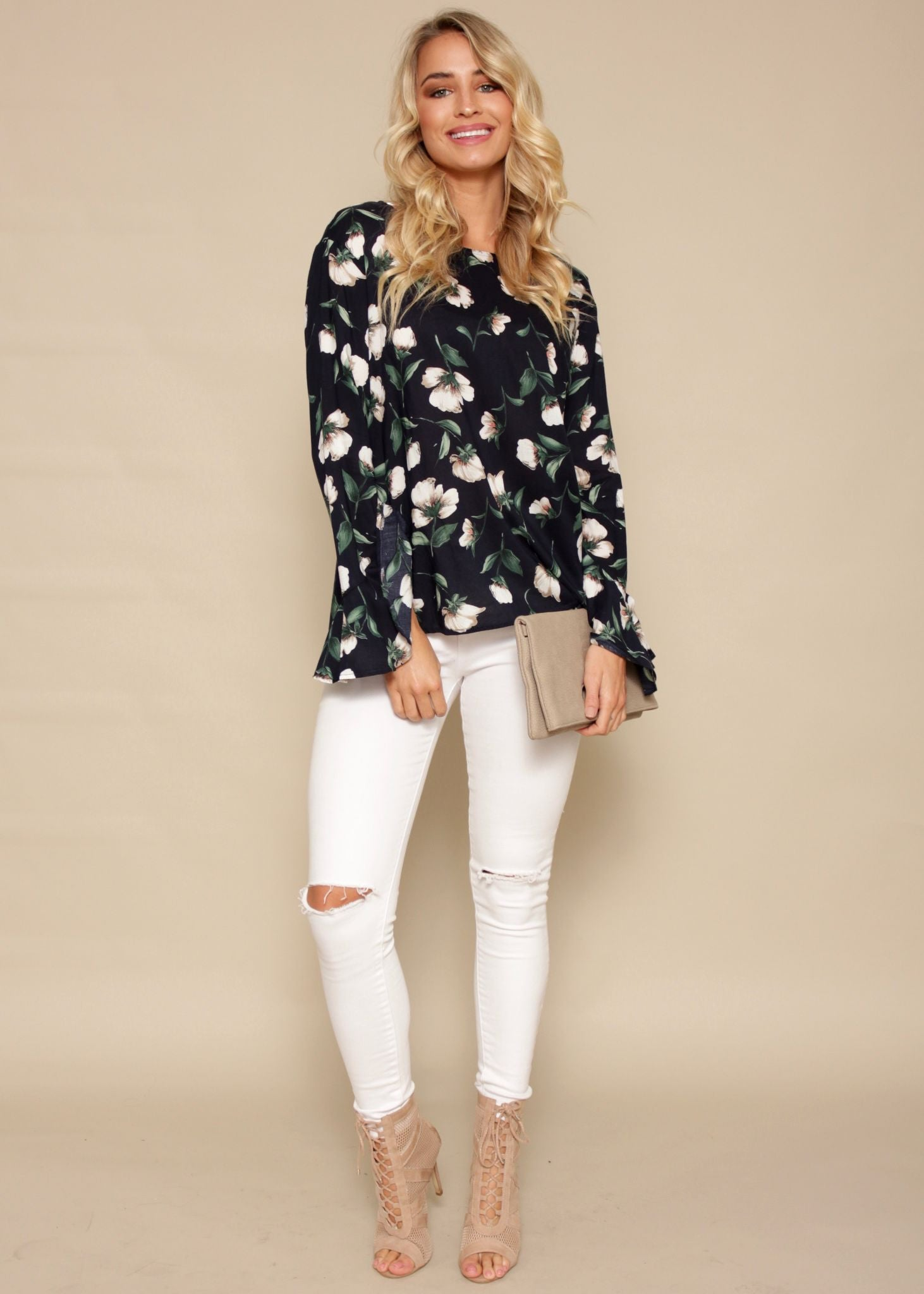 Time Turner Blouse - Navy Floral