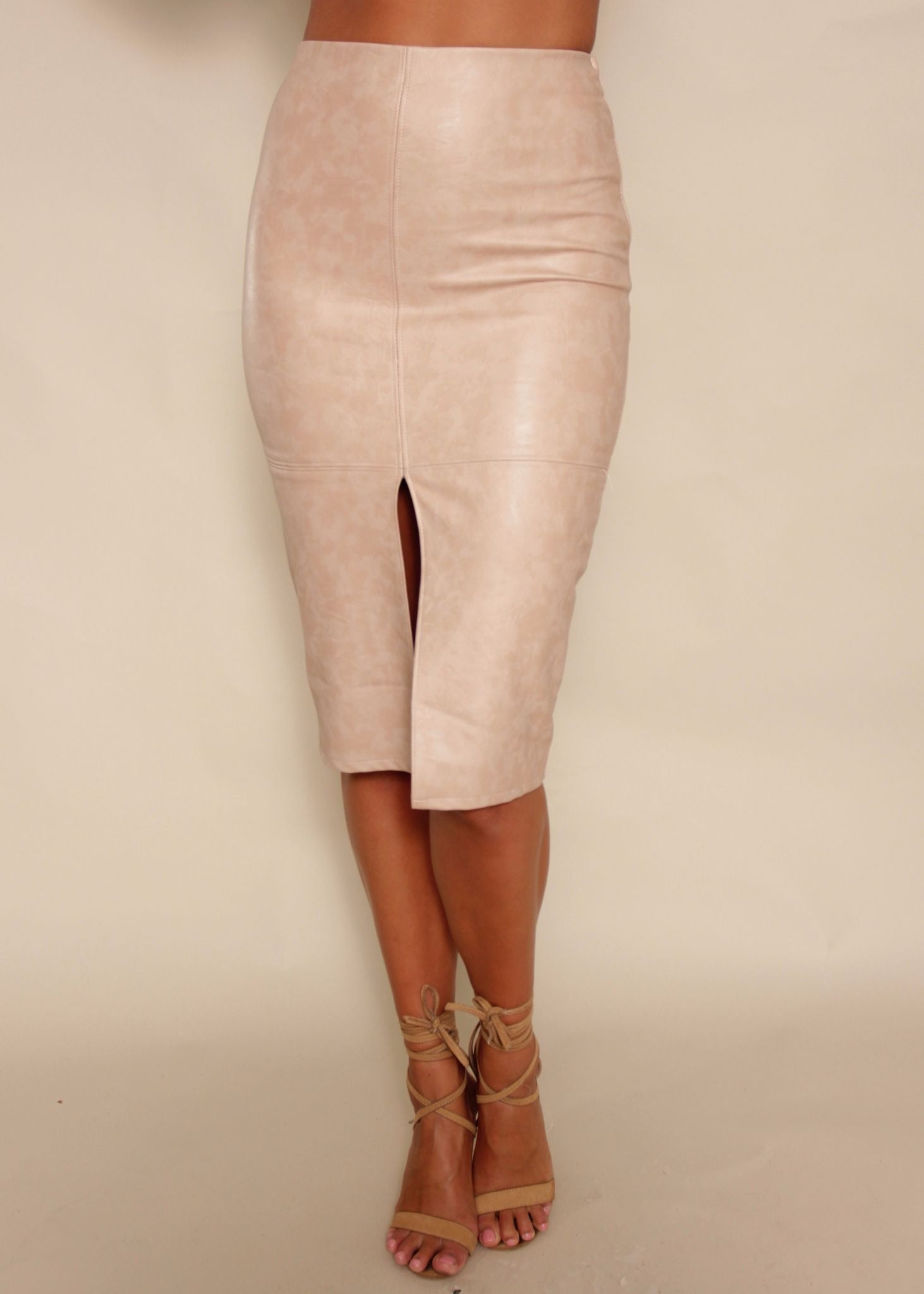Licorice PU Skirt - Beige