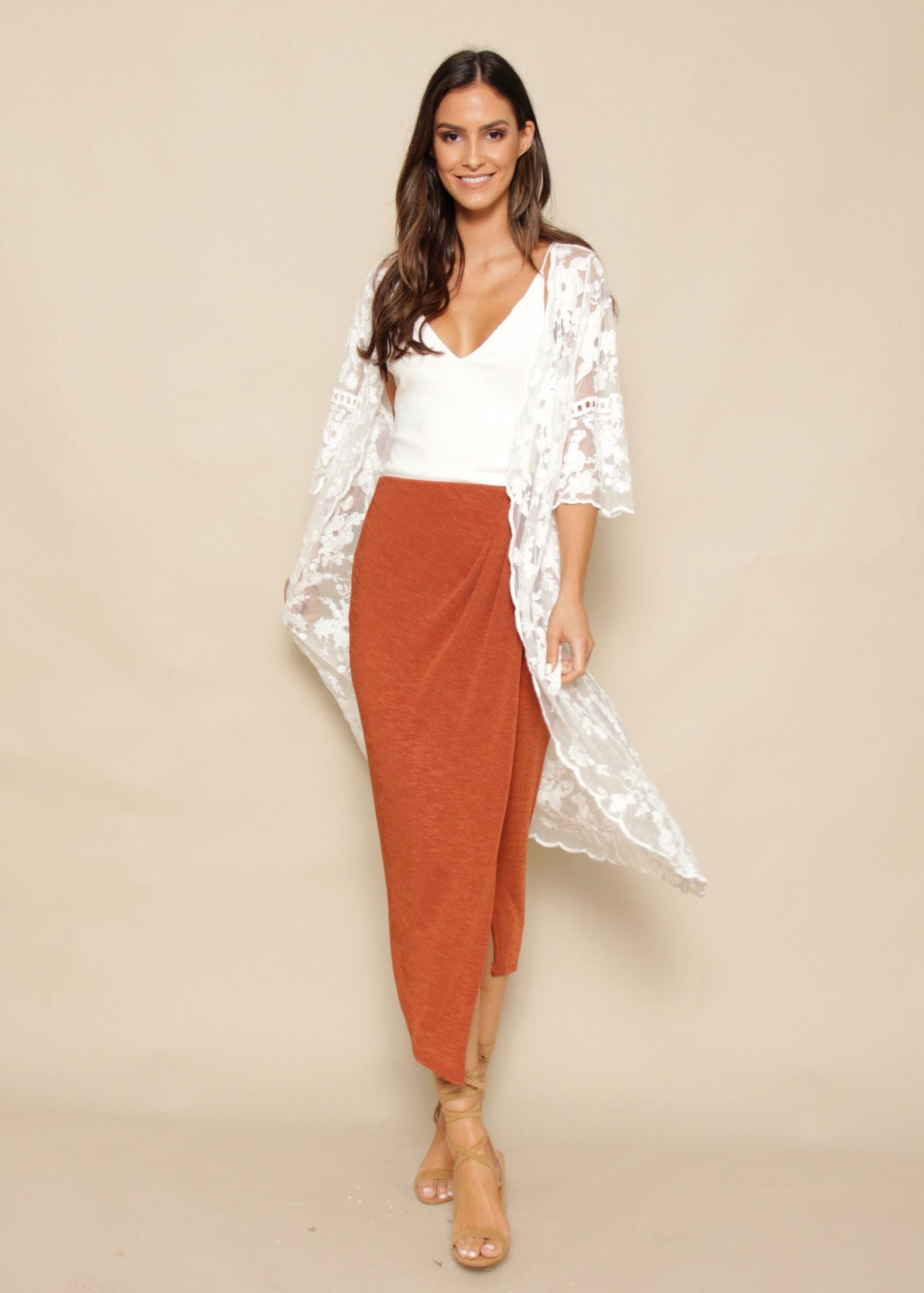 Poppy Fields Lace Cape - White