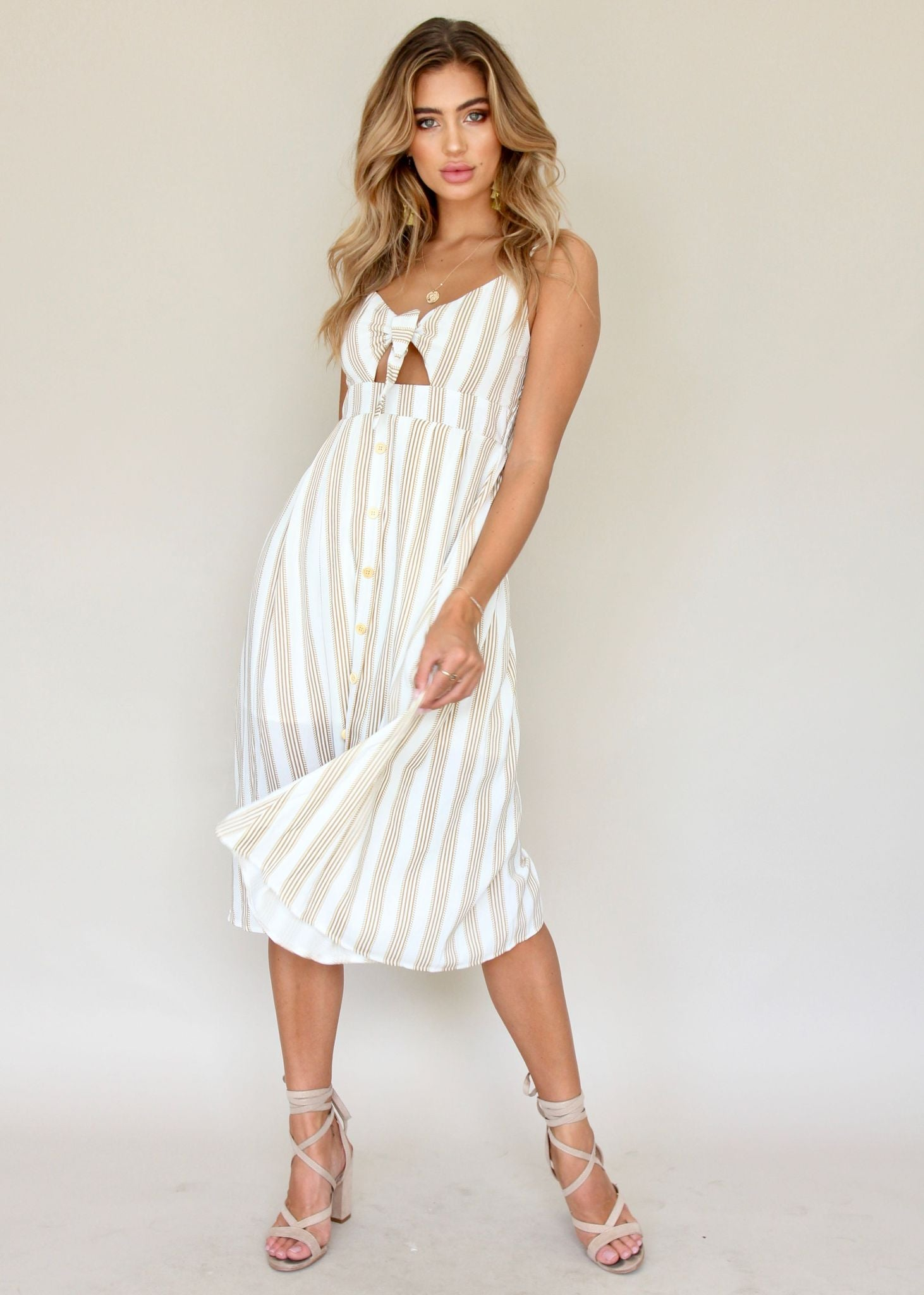 Big City Midi Dress - White/Tan