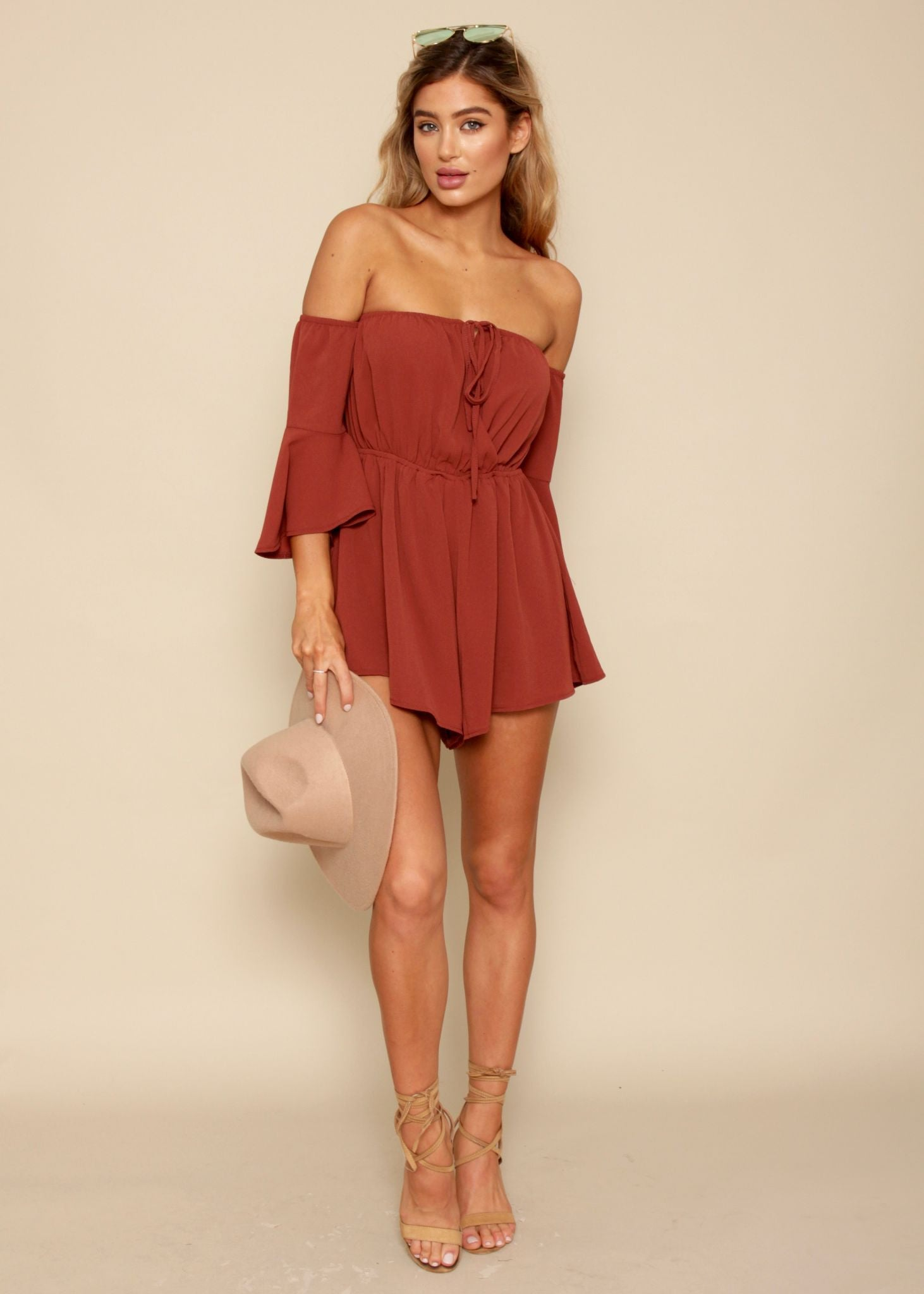 American Beauty Off Shoulder Playsuit - Garnet