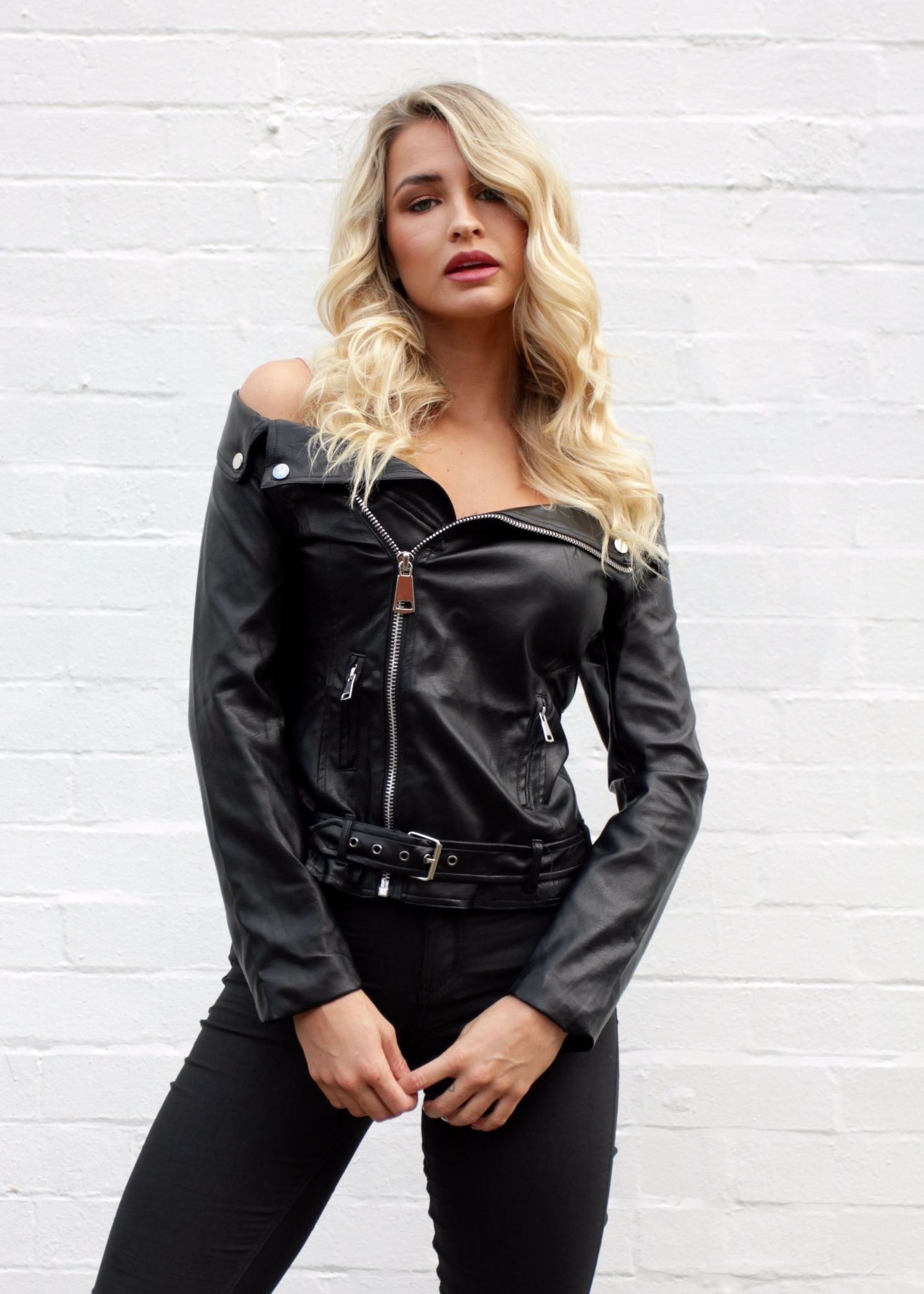 Easy Rider Off Shoulder Jacket - Black