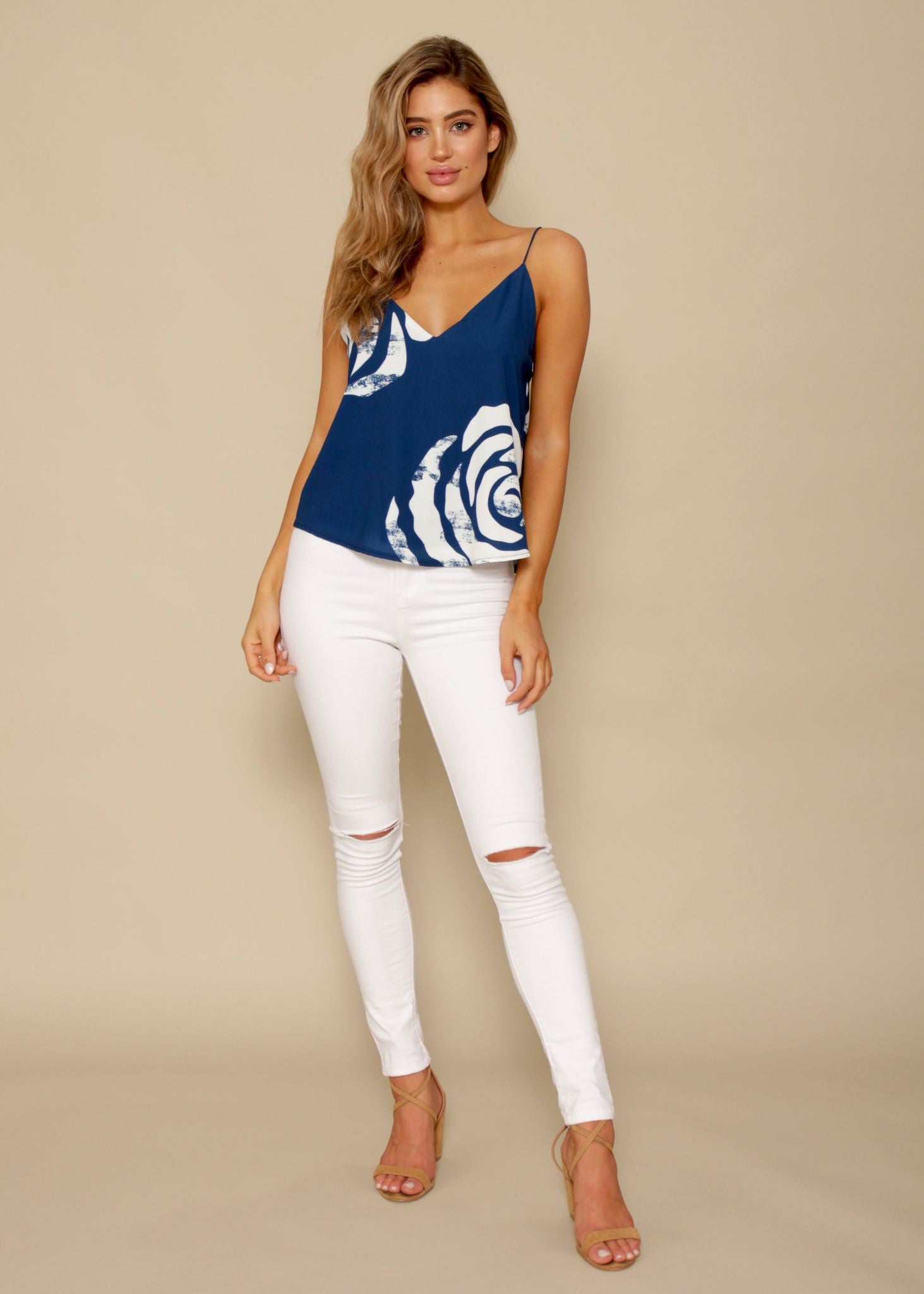 City Limits Cami - Navy Swirls
