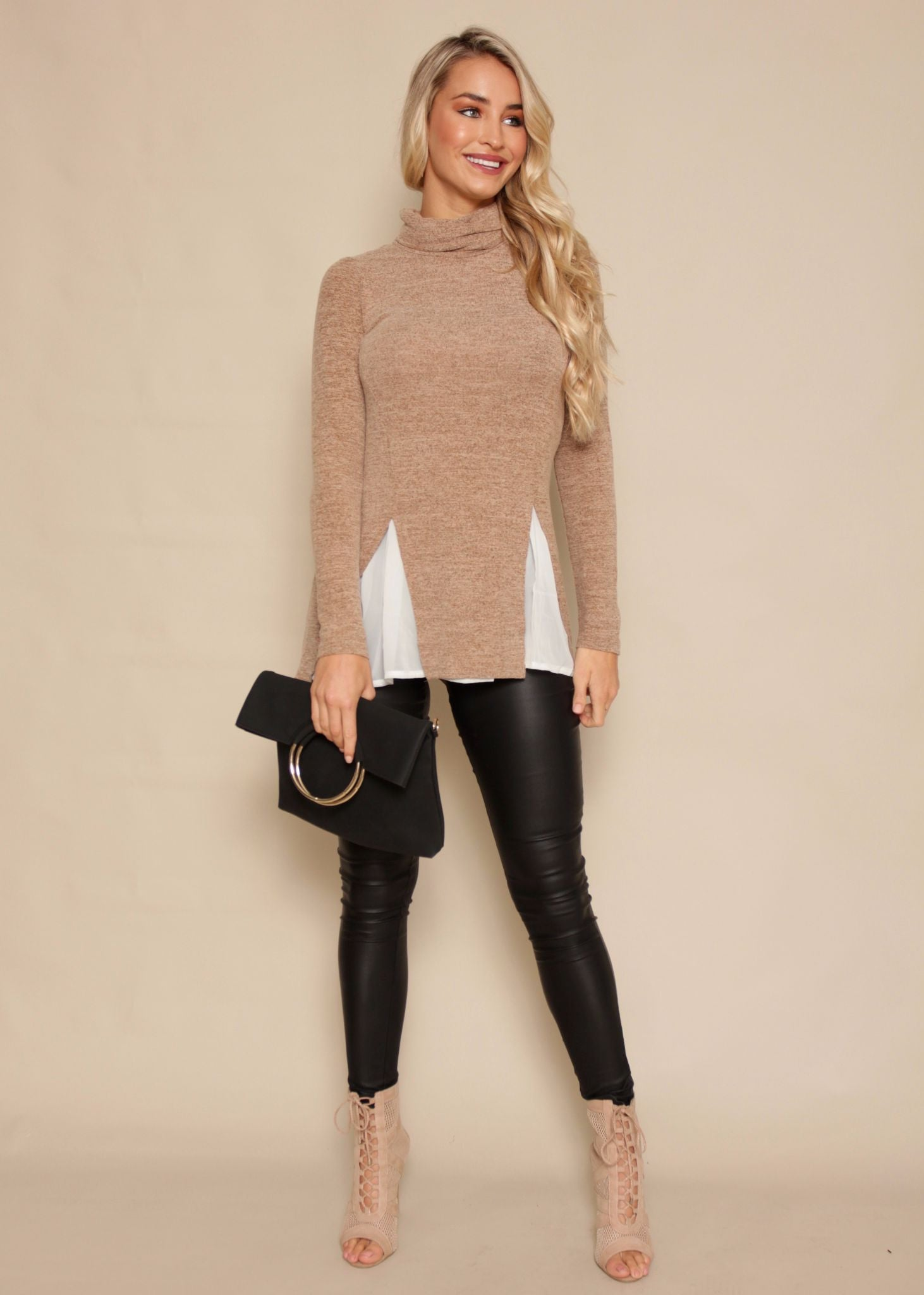 Second Thought Roll Neck Sweater - Tan Fleck