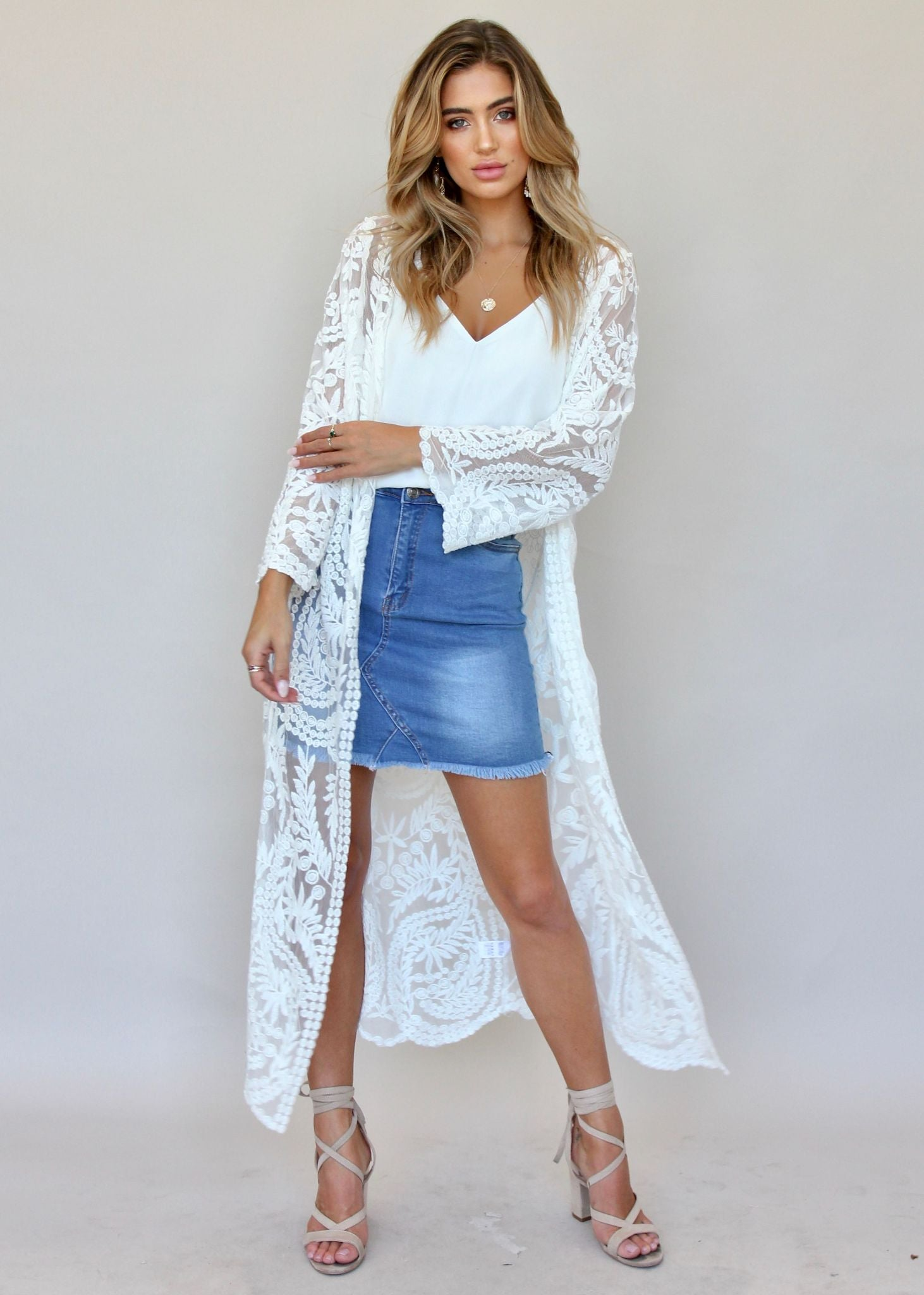 Always Loved Lace Cape - White