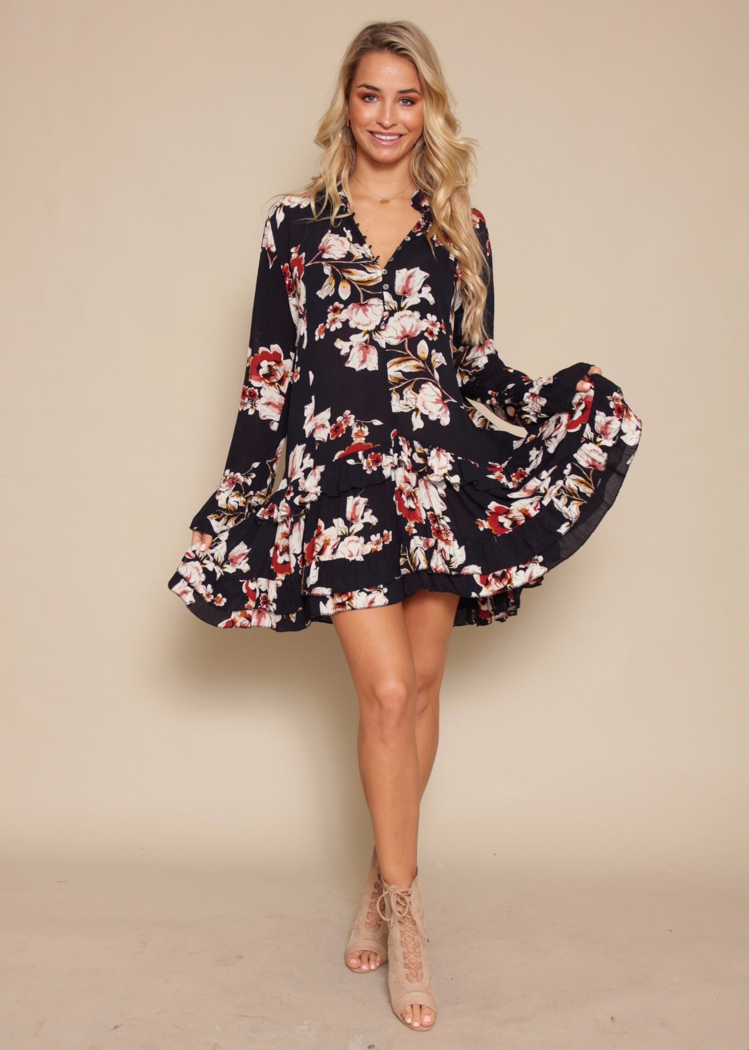 Guessing Game Swing Dress - Navy Floral