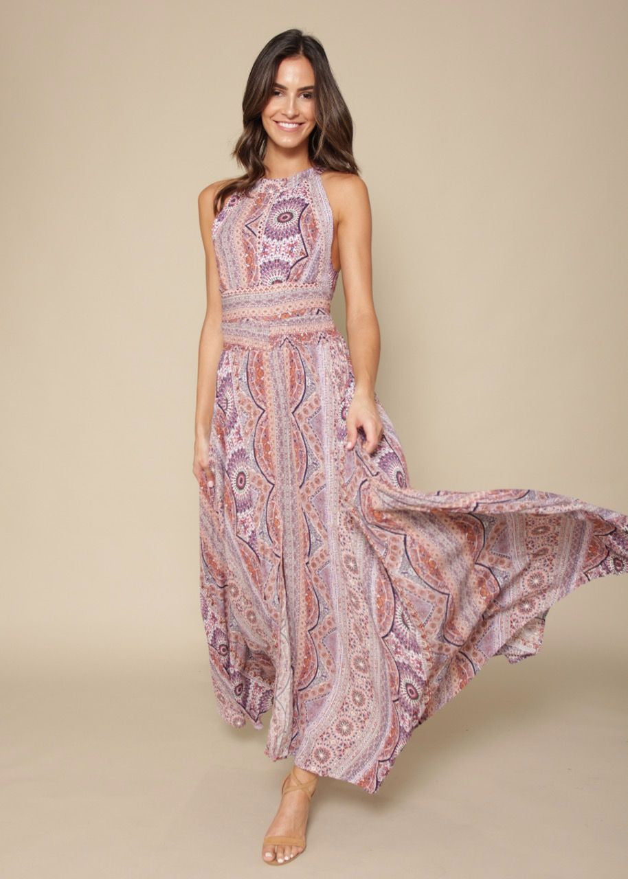 Break Of Dawn Maxi Dress - Lurex India Rose