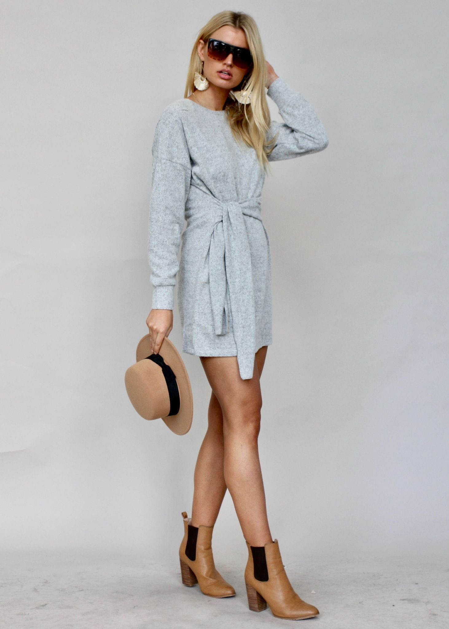 Hide Away Tie Knit Dress - Grey Marle