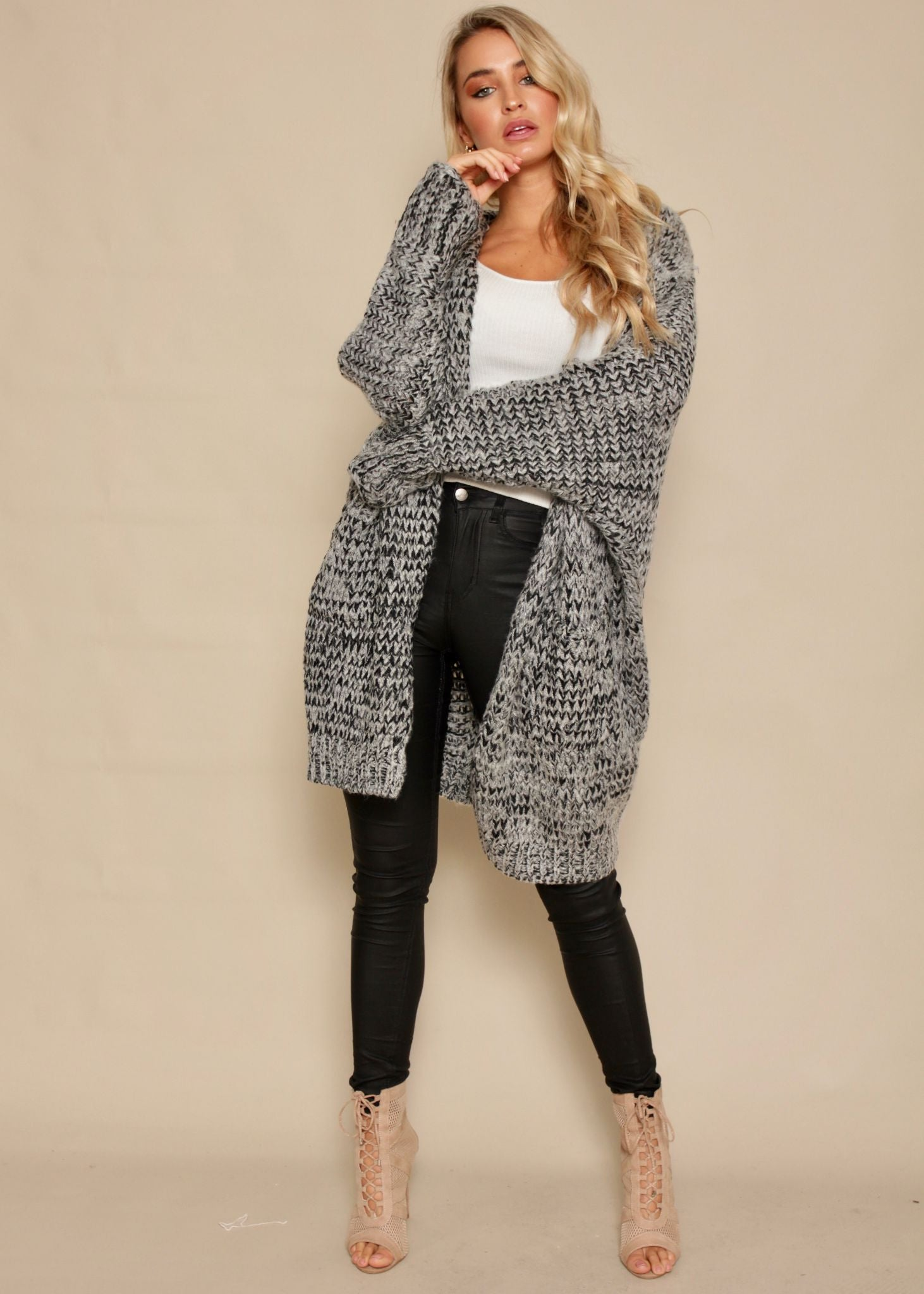 Shallow Waters Knit Cardigan - Charcoal