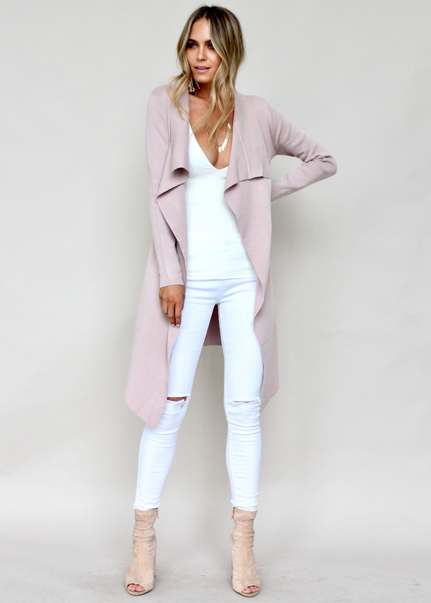 Embrace The Light Knit Coat - Dusty Pink