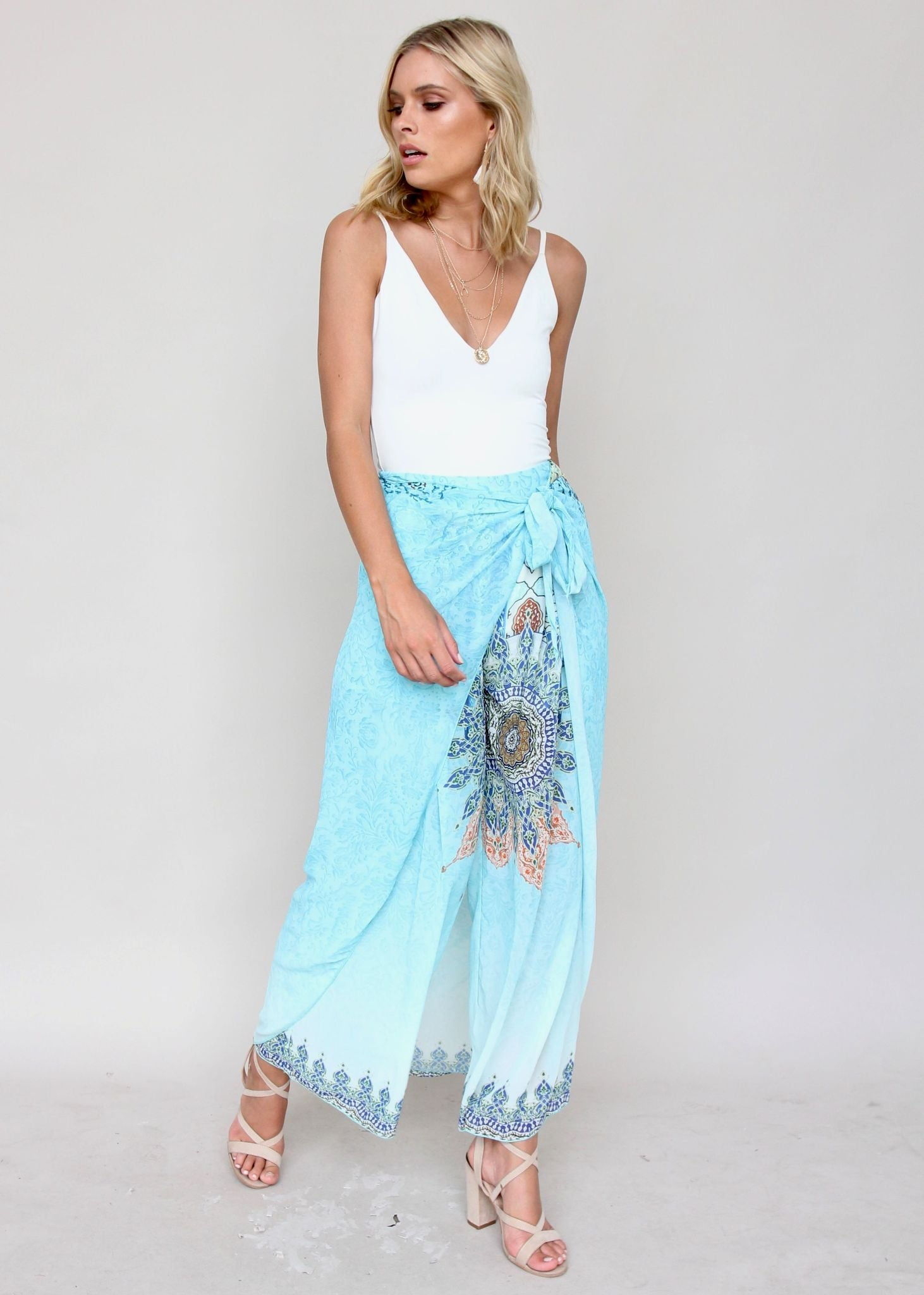 Up Ahead Wrap Pants - Curacao