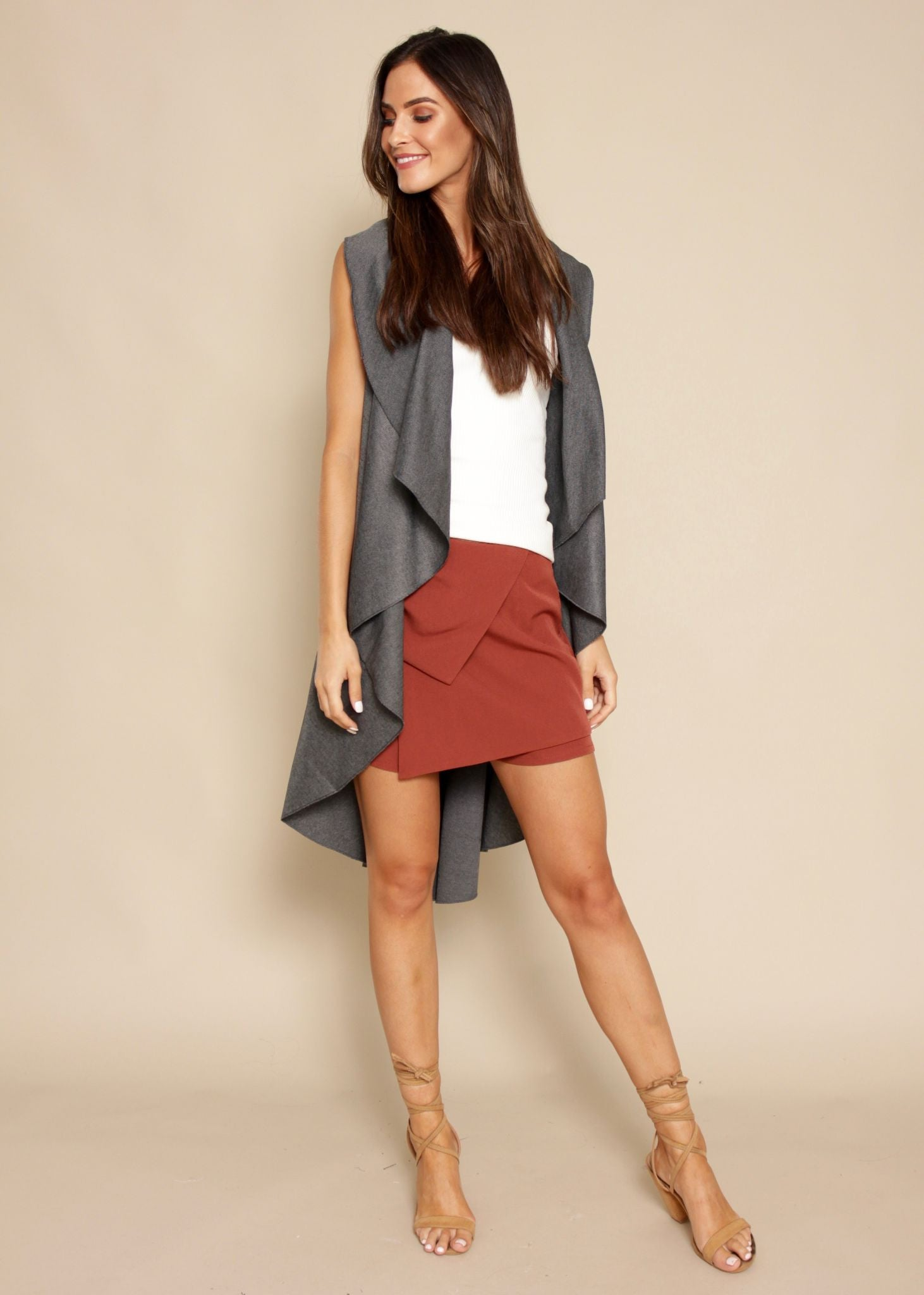 Bright Lights Sleeveless Cape - Grey Fleck