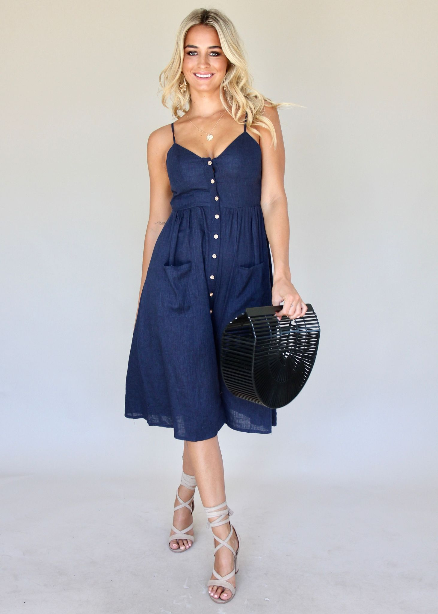 Amari Swing Dress - Navy