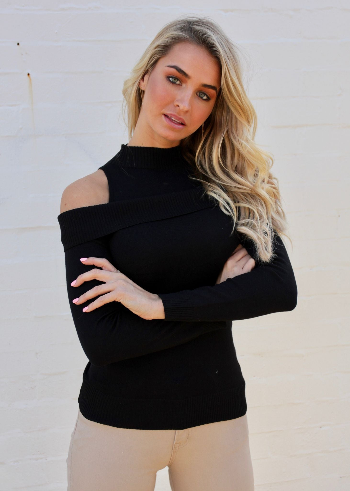 Slipped Away Cold Shoulder Knit Top - Black