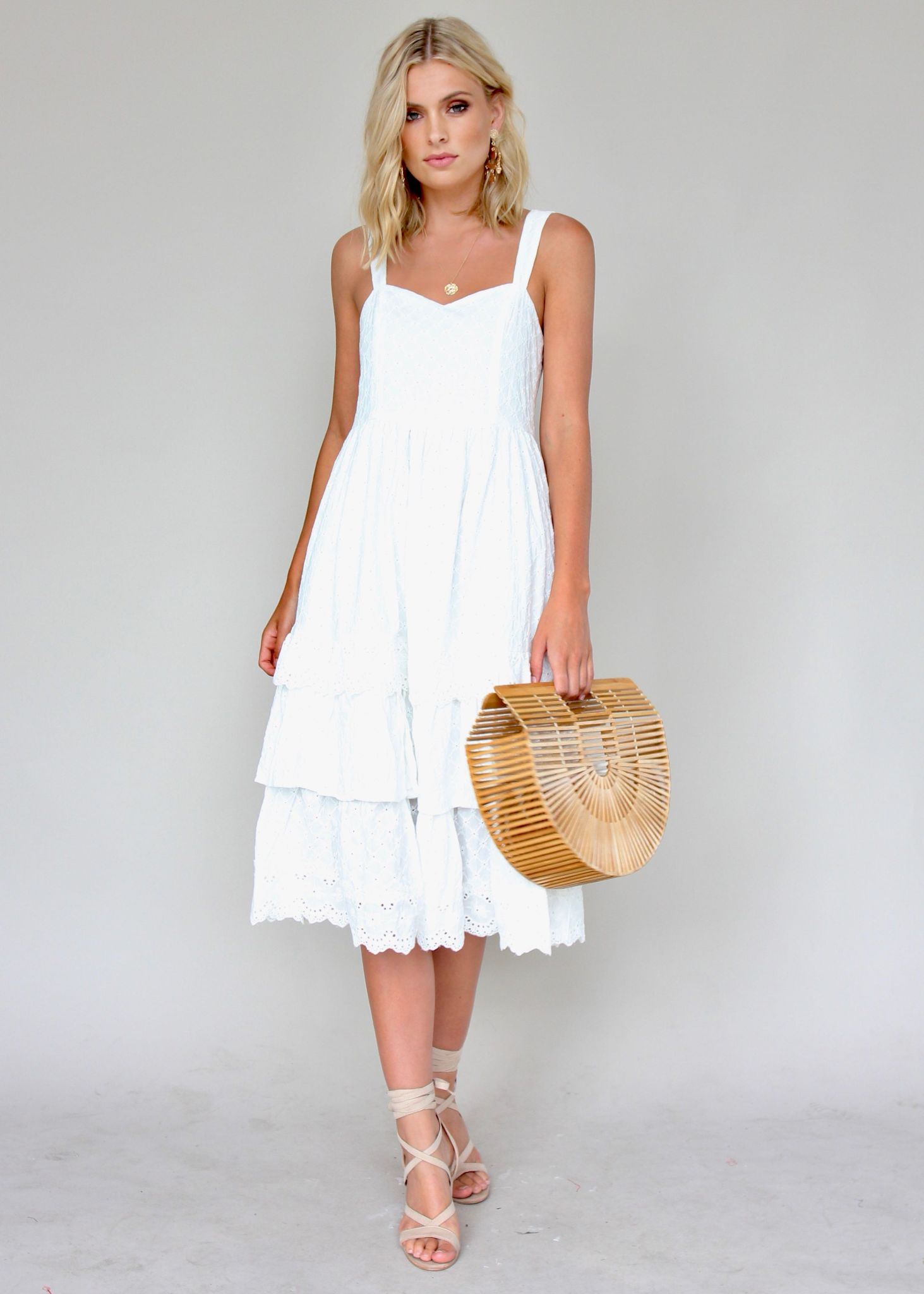Annie Swing Dress - White Emboidered