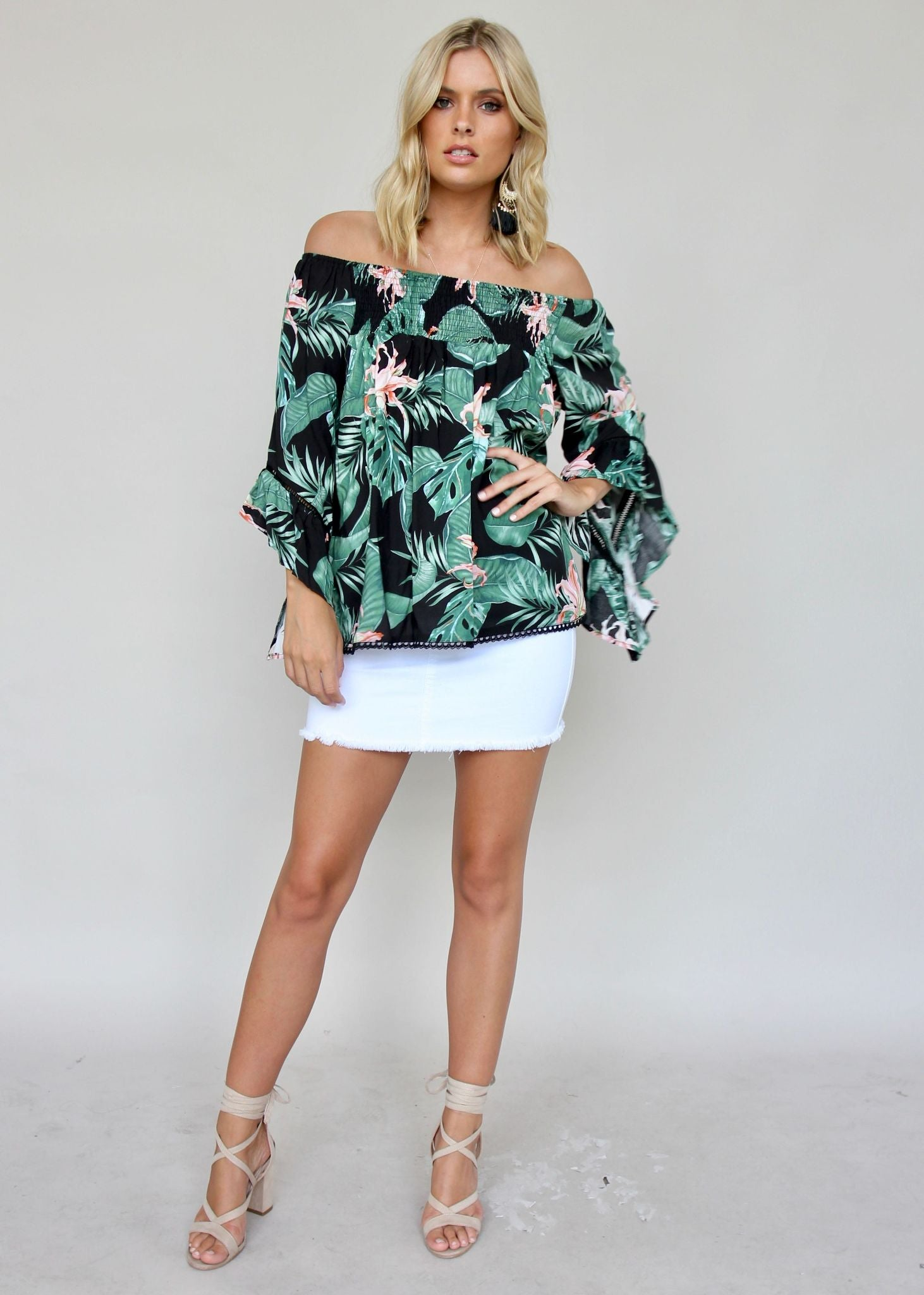 Sugar Night Off Shoulder Top - Black Florida