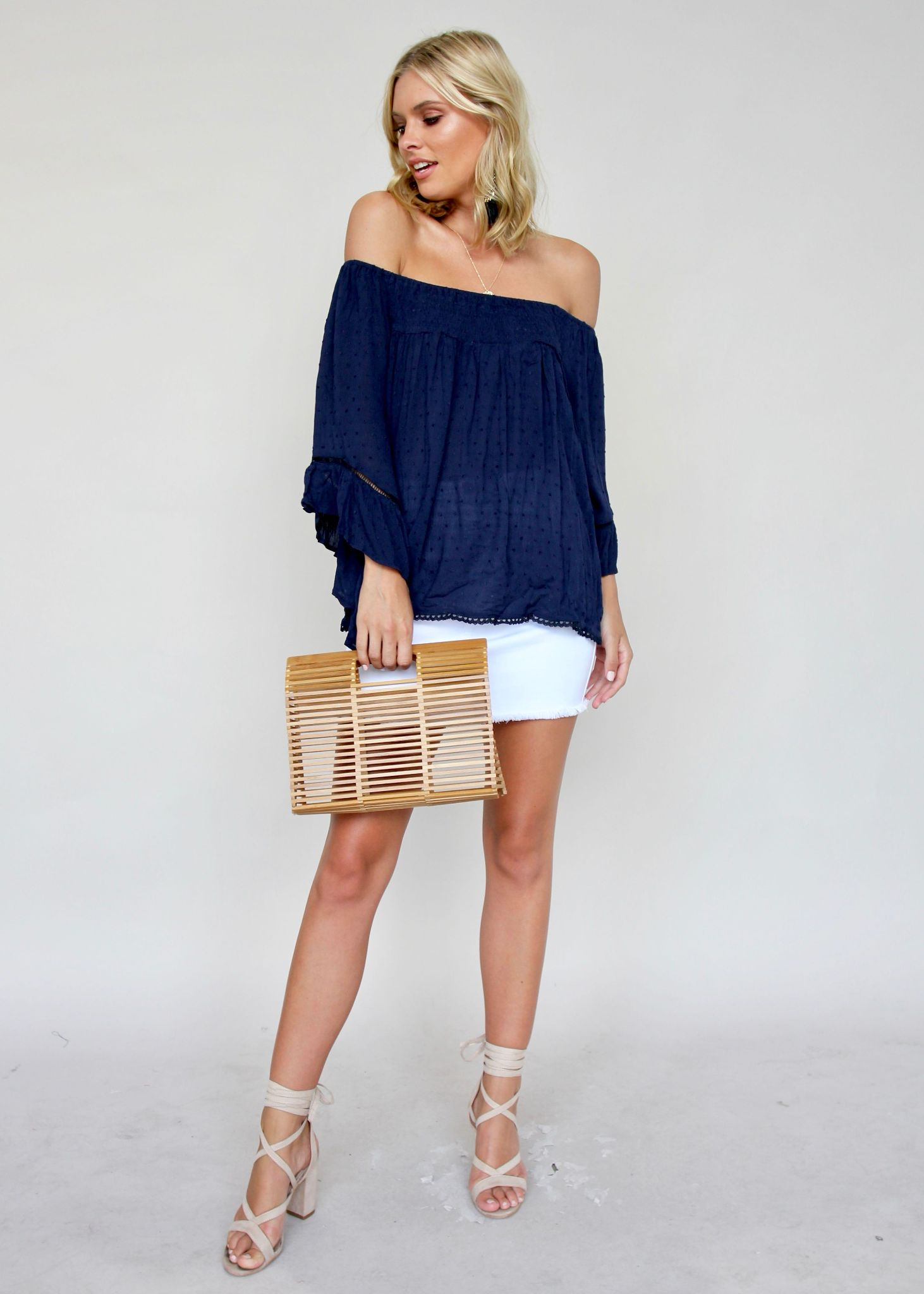 Sugar Night Off Shoulder Top - Navy