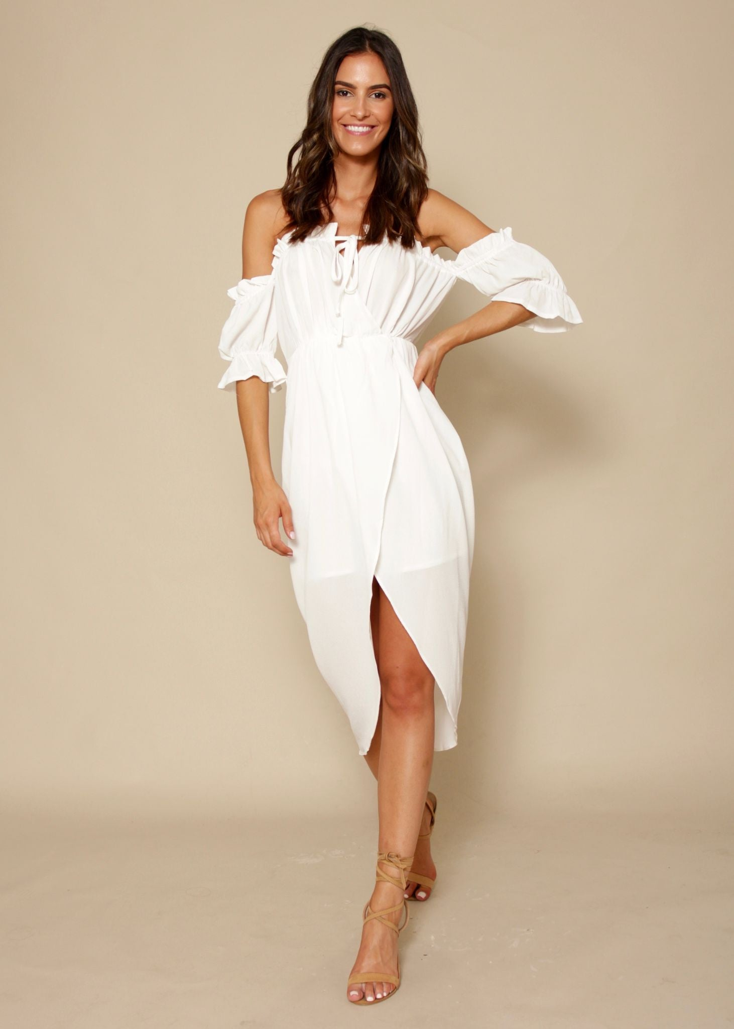 Kiss & Tell Midi Dress - White