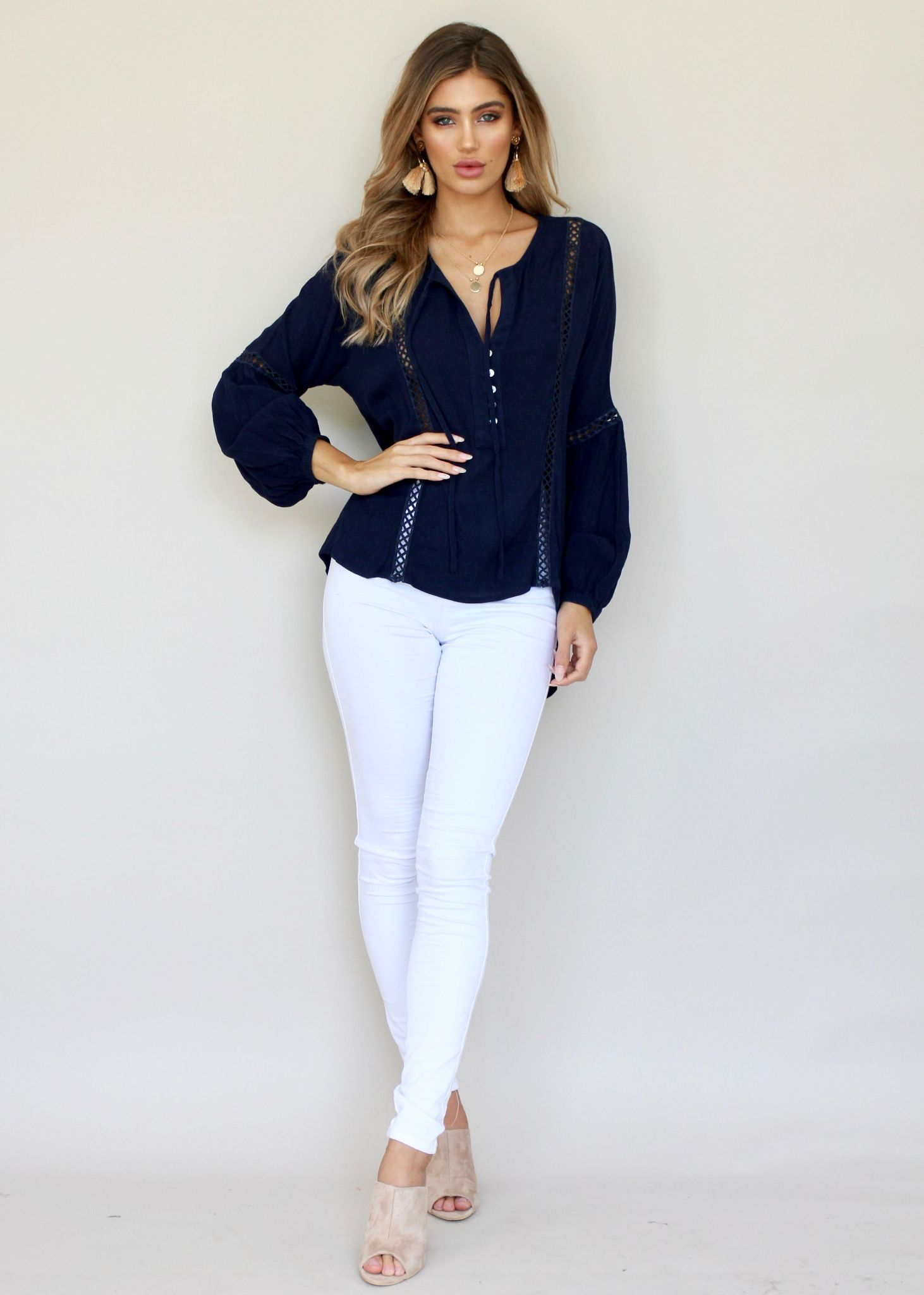 Keep A Secret Blouse - Navy