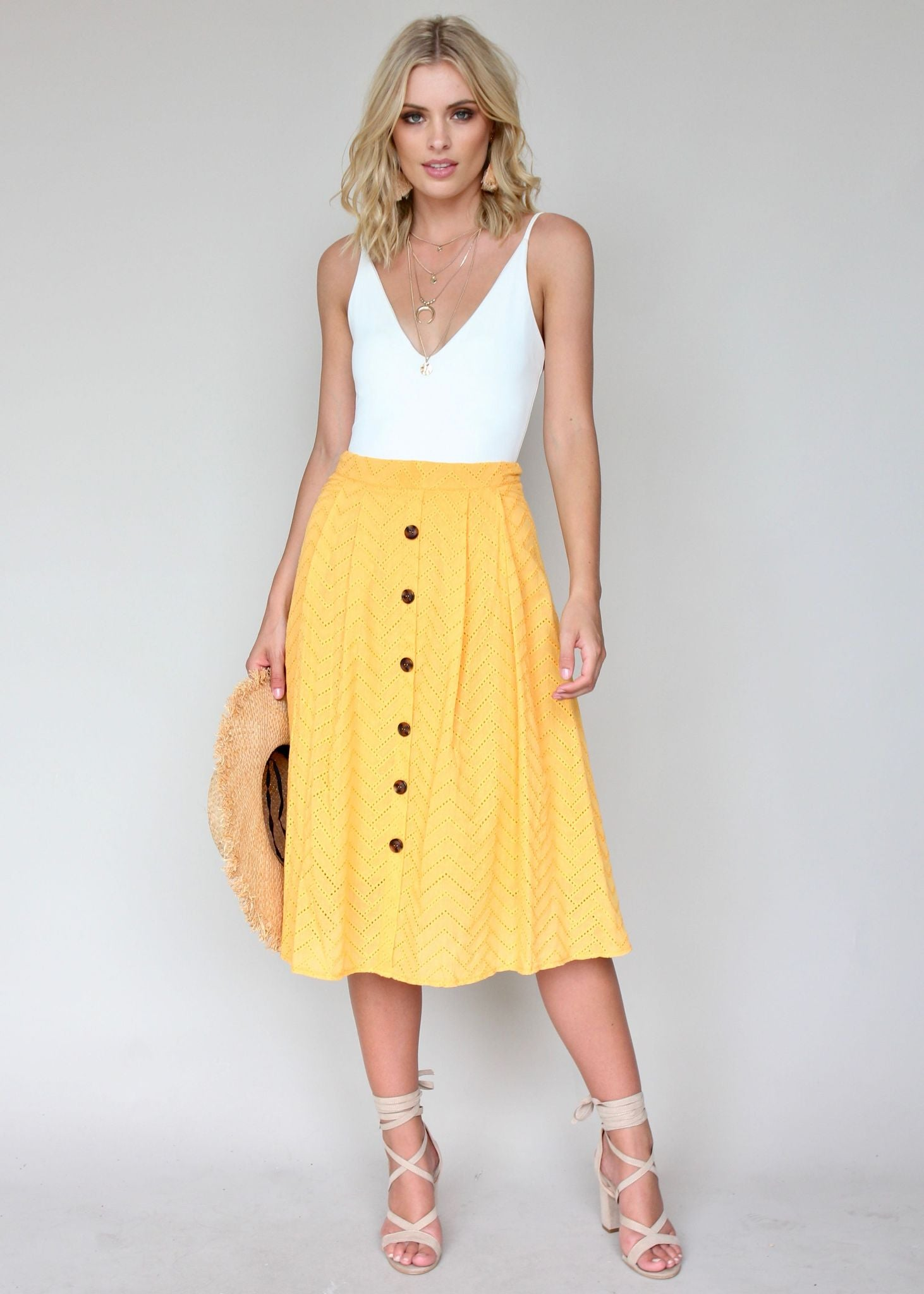 New Wave Midi Skirt - Sun