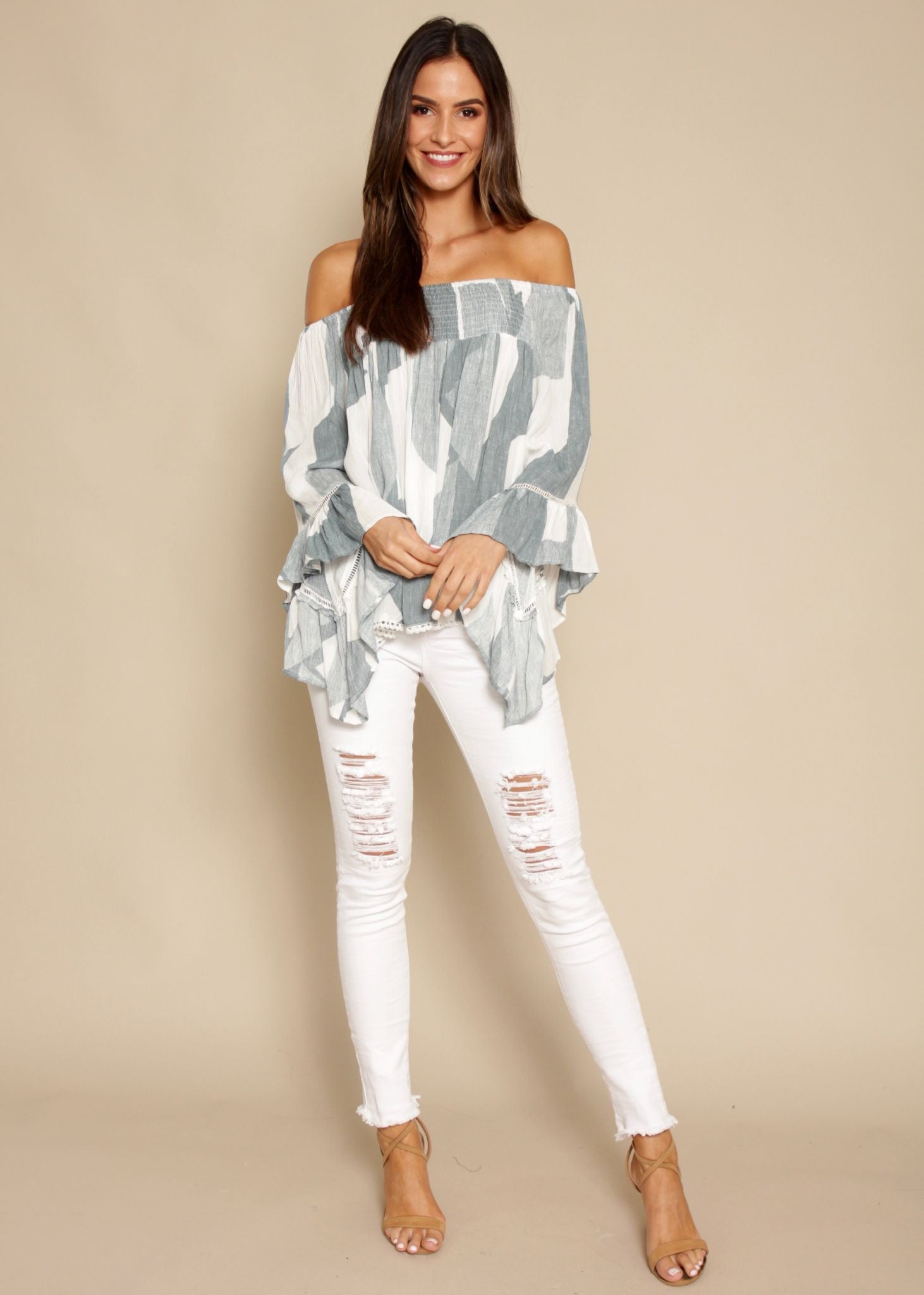 Sugar Night Off Shoulder Top - Sage Geo
