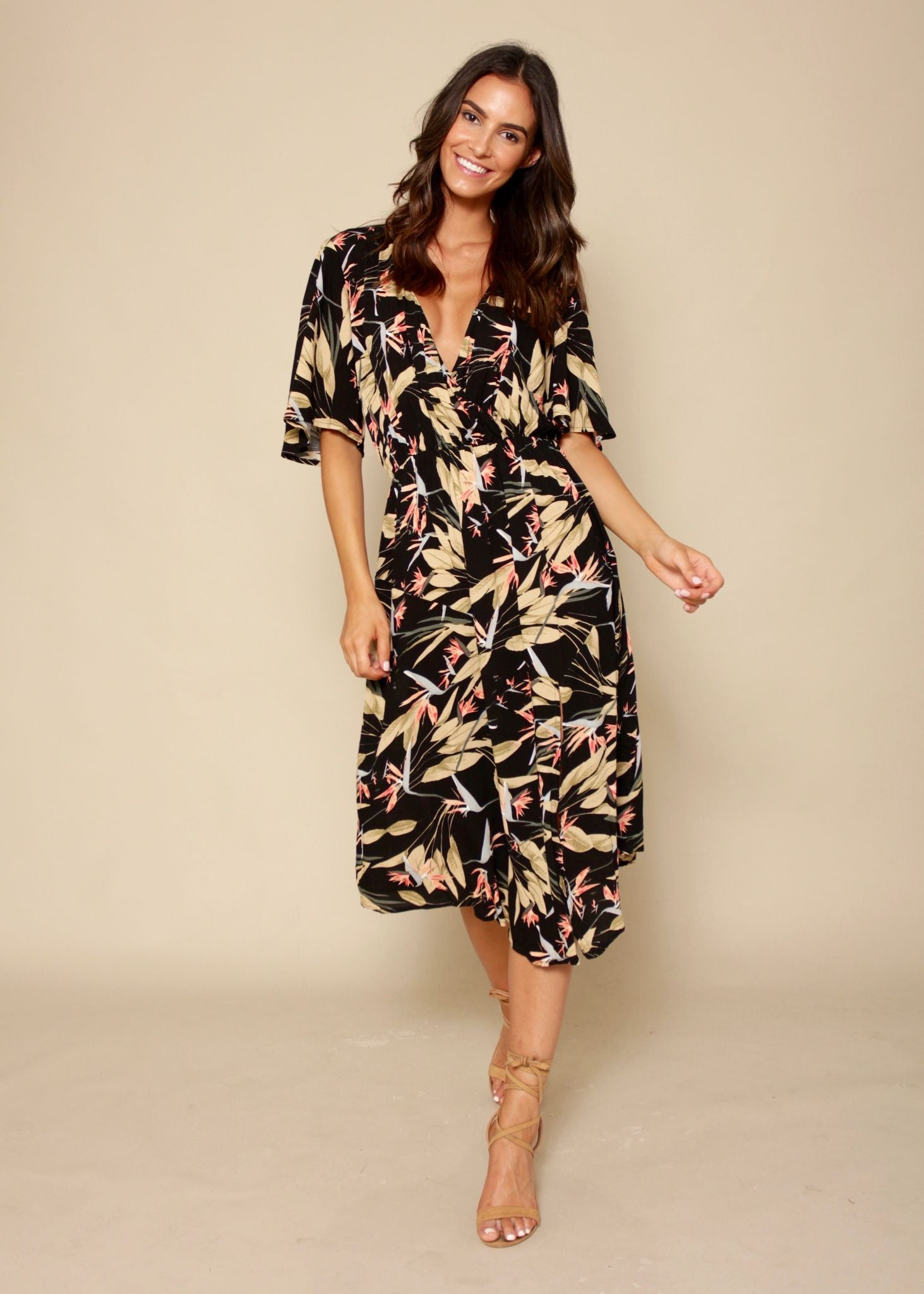 Elizabeth Bay Midi Dress- Black Paradise
