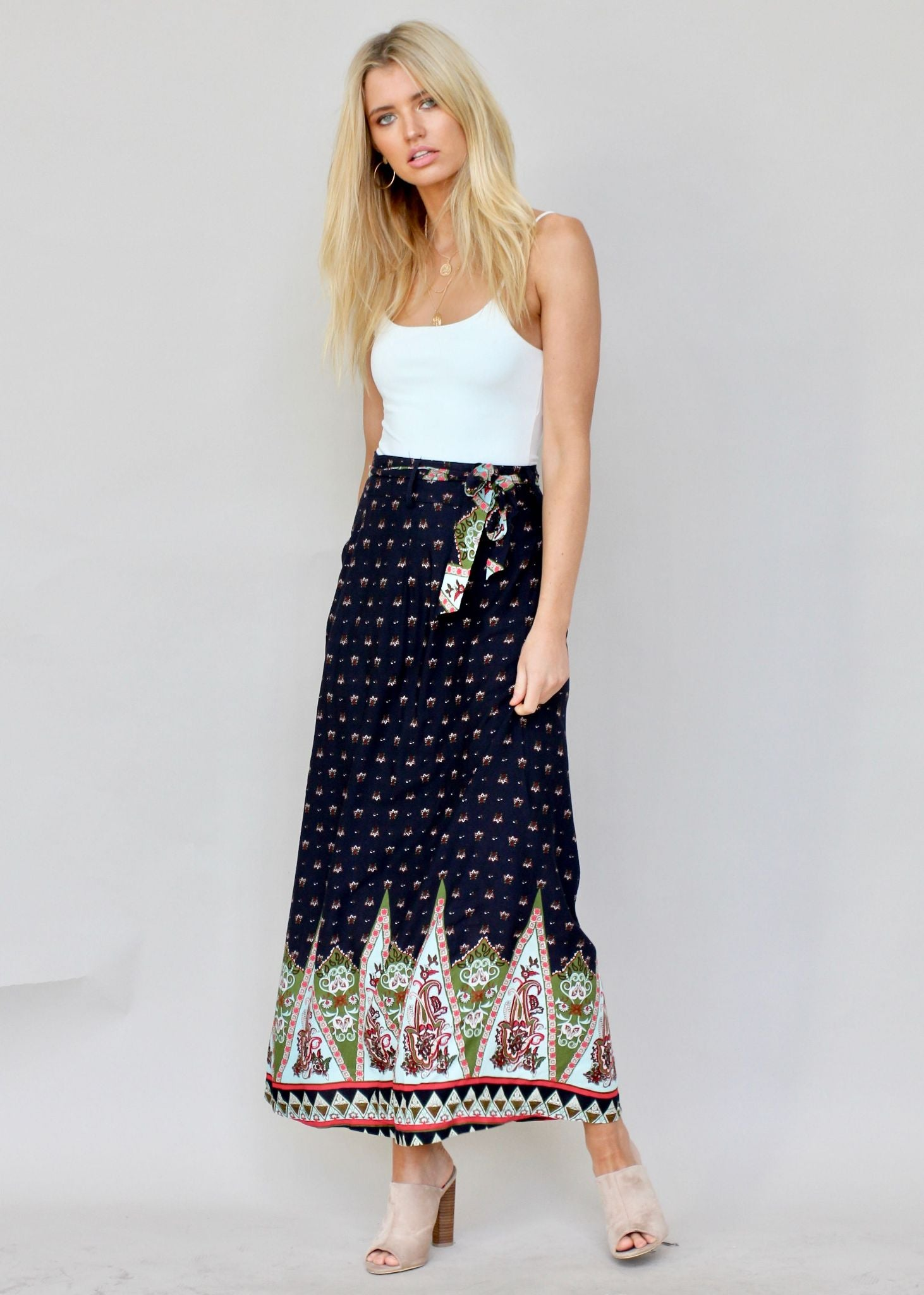 On And Ever Maxi Skirt - Night Sky