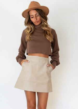 Tiani Cropped Sweater - Chocolate