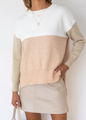 Harlem Block Sweater - Blush
