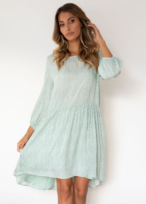 Adrianna Smock Dress - Sage Leopard