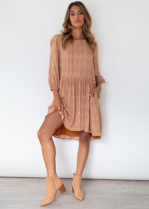Adrianna Smock Dress - Tan Leopard