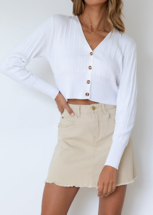 Jasmine Cropped Cardigan - Off White