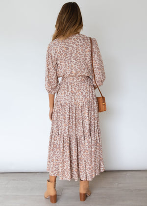 Lavidia Midi Dress - Mocha Leopard