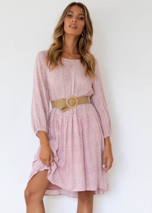 Adrianna Smock Dress - Blush Leopard