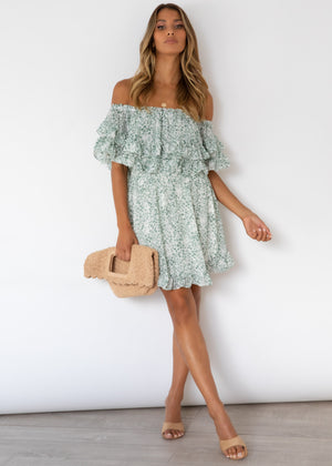 Haylie Off Shoulder Dress - Sage Floral