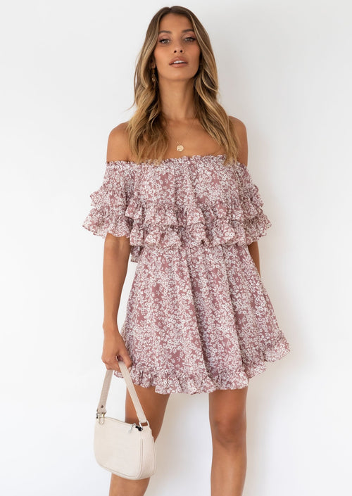 Haylie Off Shoulder Dress - Rose Floral