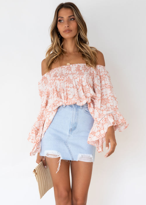 Charlotta Off Shoulder Top - Peach Floral