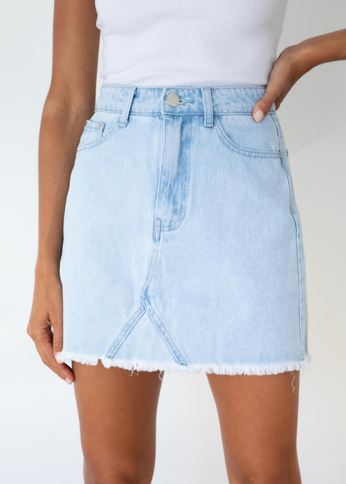 Inez Denim Skirt - Light Blue
