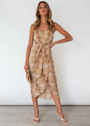 Ramonic Midi Dress - Tan Leopard