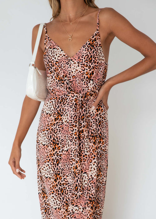 Ramonic Midi Dress - Blush Leopard