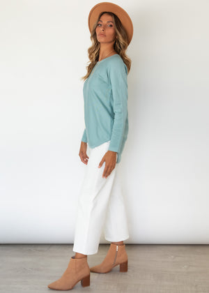 Always Mine Knit Top - Aqua