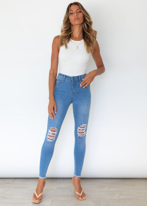 Roughed Up Jeans - Light Blue
