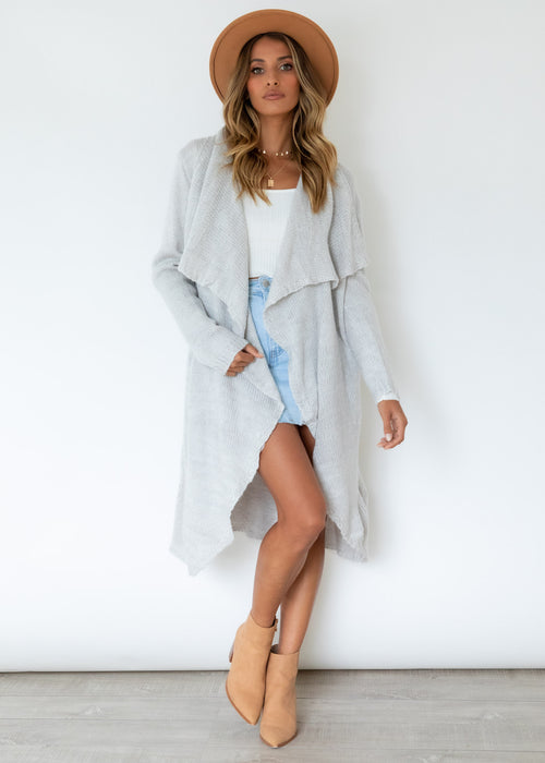 Captured Love Wool Cardi - Pale Grey